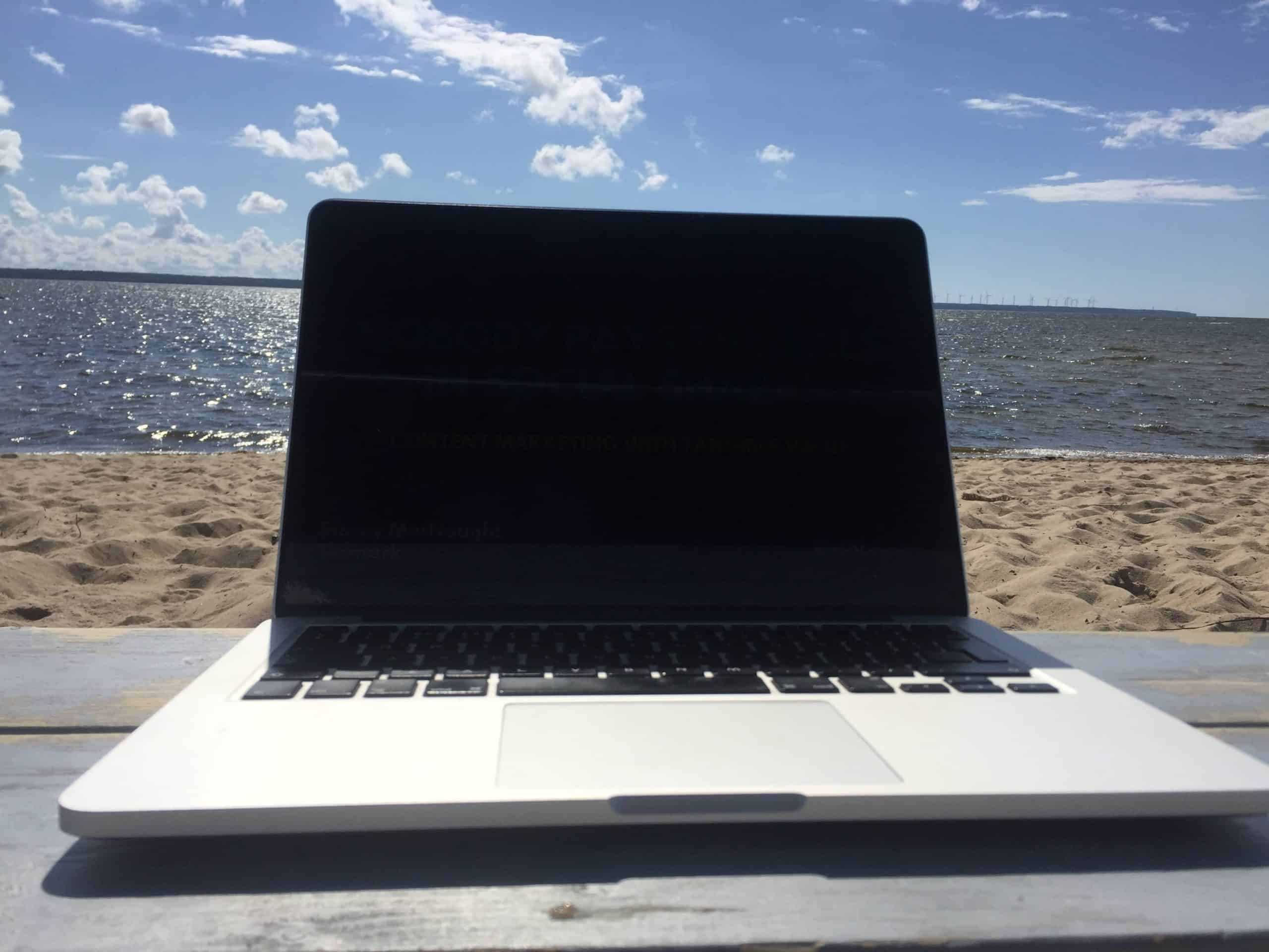 remote working on the beach
