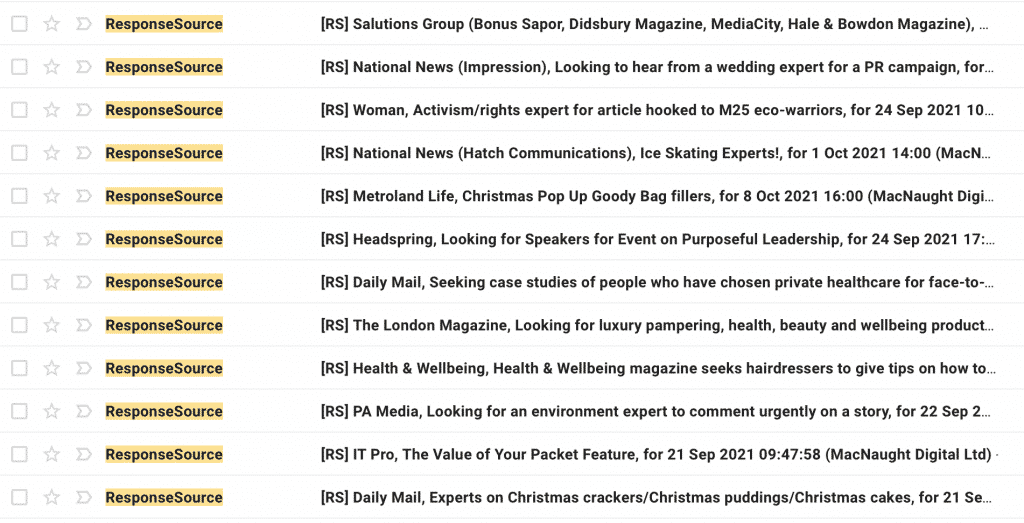 response source emails in inbox