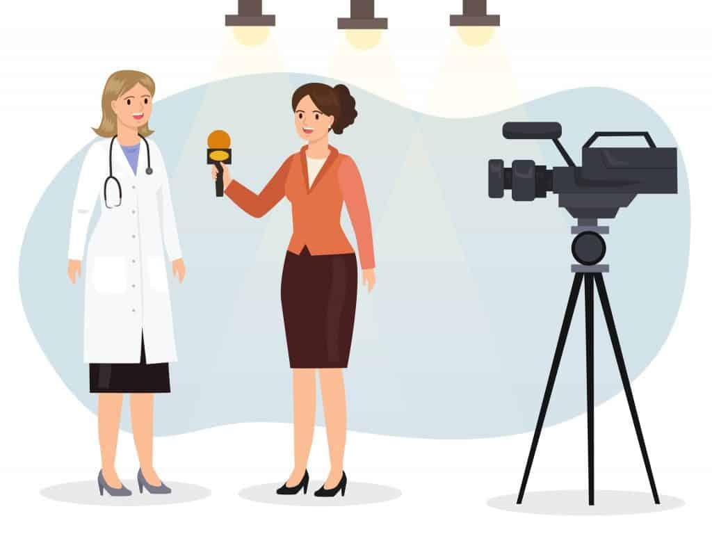 journalist interviewing medical expert